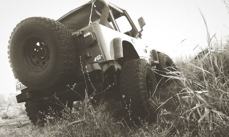 Who doesn't love jeeps?!! ❤📷❤** Jeep Jeep Wrangler  Sky Day Outdoors Tire Low Angle View Black And White Photography Love Photography Quickpic No People