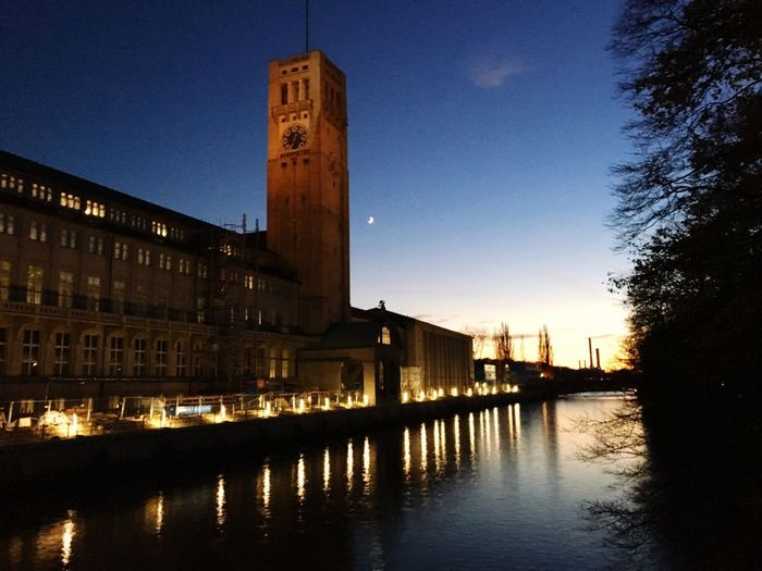 Deutsches Museum München, blau Stunde, Munich, Germany German Museum Of Technology Isar Built Structure Architecture Building Exterior Sky Water Reflection Building City Illuminated Tower Waterfront Nature No People River