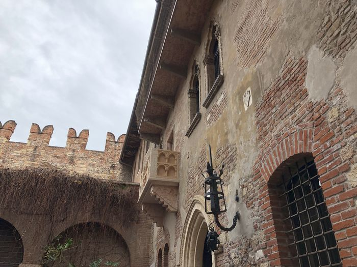 Juliet's Balcony at Capuleti House in Verona, Italy Architecture Built Structure Building Exterior Low Angle View Window Day Building No People Brick Wall History Old Juliet Balcony Juliet's House Verona Italy Shakespeare