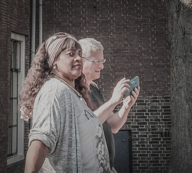 Two People Streetphotography Street Life Street Photo Lightroom Mobile Janleegwater FujiFilm X20 Dordrecht Street Photography Street Photographer Looking At Camera Black And White Blackandwhite