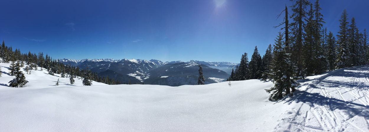 Alpine Winter Panoramic View Alpine Austria Cross Country Filzmoos Hiking Holiday Panorama Panoramic Roßbrand Skiing View Winter Wintertime Alps Blue Sky Filzmoos Forest Loipe Mountain Mountain Range Peak Snow Sun Trail Wide Angle Go Higher Go Higher