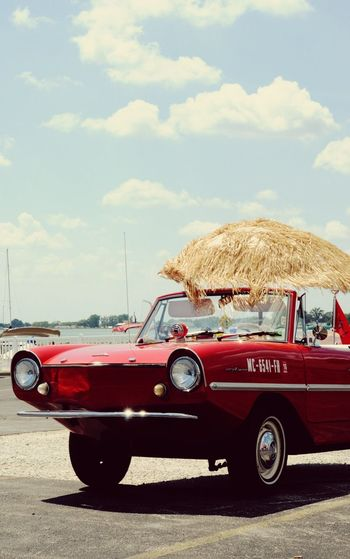 Thatched Sunshade Over Convertible