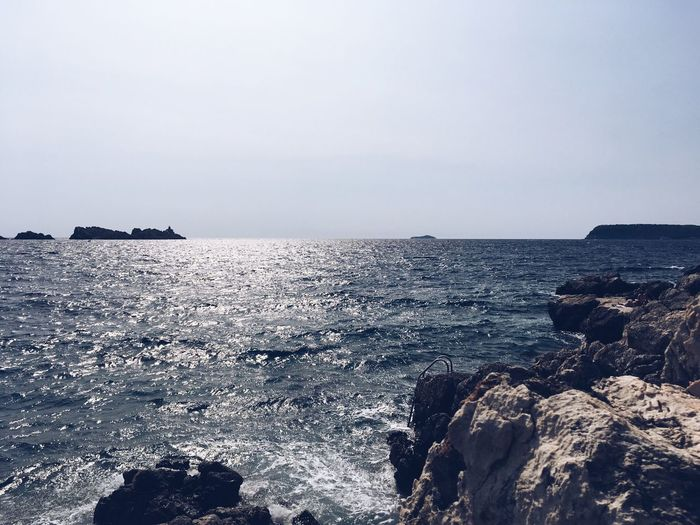 Sea Nature Water Beauty In Nature Rock - Object Scenics Clear Sky No People Horizon Over Water Tranquility Outdoors Sky Day