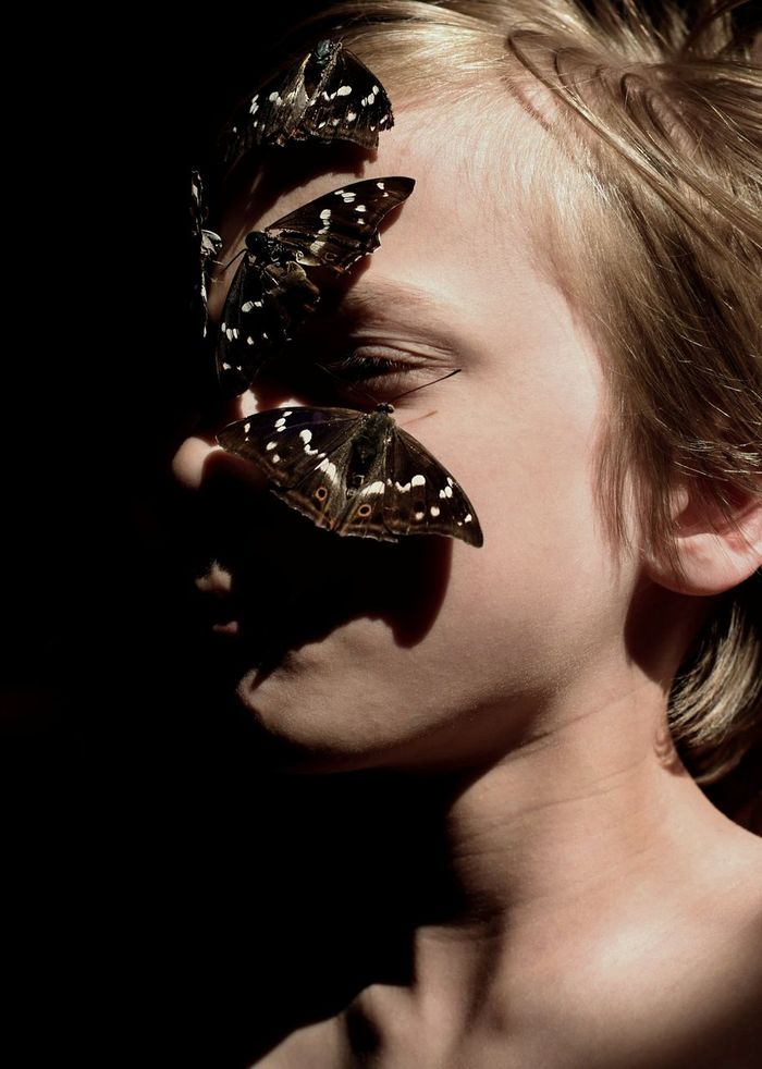 Close-up of boy with butterfly perching on face against black background