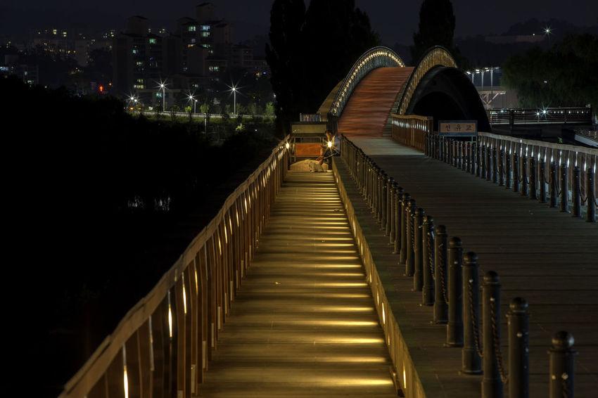 Architecture Bridge Built Structure Dark Dark Diminishing Perspective Illuminated In A Row Night No People Pathway Repetition Seonyudo Seonyugyo The Way Forward Tranquility Vanishing Point Walkway Yanghwa Hangang Park