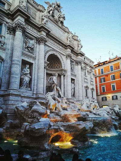 Fontana Di Trevi. Italy Rome Travel Treveling Architecture Built Structure Religion History Travel Destinations Day Low Angle View Building Exterior Place Of Worship Outdoors Sky Water