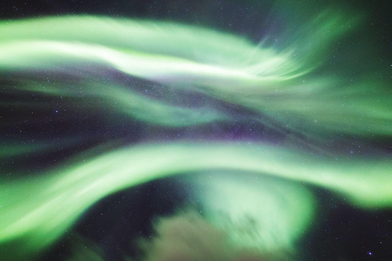 Low angle view of aurora polaris at night