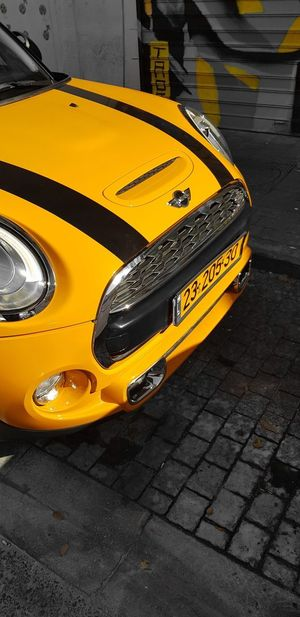 agressive, sunny - bmw mini Bmw Bmw Mini Mini Cooper Yellow Taxi Yellow Car Taxi Close-up Vehicle Parking