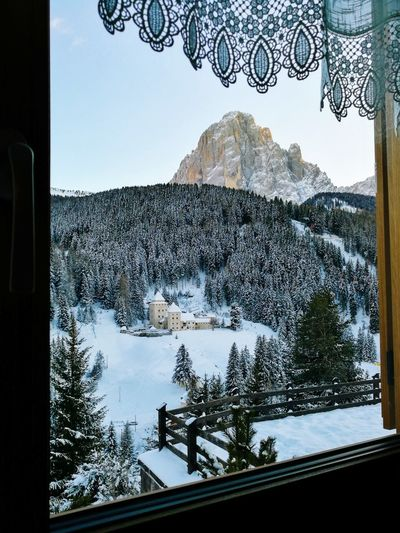 Castle Dolomites, Italy Christmastime No People Snow Window Winter Cold Temperature Sky Day Indoors  Mountain Tree