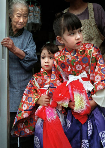 Waiting to participate in Omatsuri parade in Nemuro, Japan in early 2000's. Anticipation Childhood Colors Festival Front View Generation Great Grandmother Japan Japanese Culture Lifestyles Nervous Omatsuri Parade Real People Standing Traditional Clothing Young Adult Things I Like