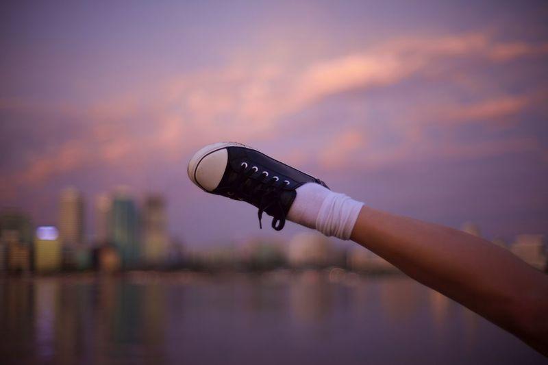 Foot at sunset