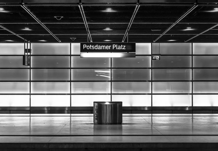 Potsdamer platz text at illuminated subway station
