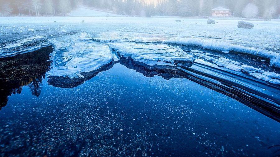 Frozen landscape during winter