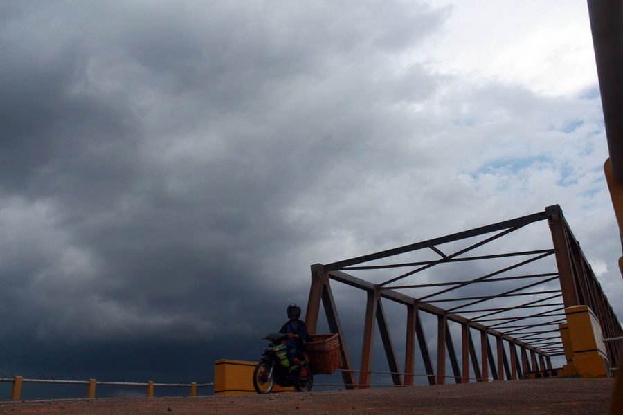 cloudy Architecture Beauty In Nature Bridge Built Structure Cloud Cloud - Sky Cloudy Connecting Daily Life Everyday Capture INDONESIA Kepulauan Riau Ketanjungpinanglah Lifestyles Low Angle View Men Motorcycle Person Railing Sky Tanjungpinang Transportation Weather Wonderful Indonesia Wonderful Kepri