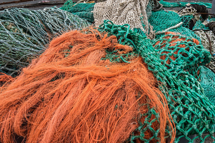 Filets de pêche Bretagne Brittany Close-up Finistere Fish Nets Harbor Harbour Multi Colored Port