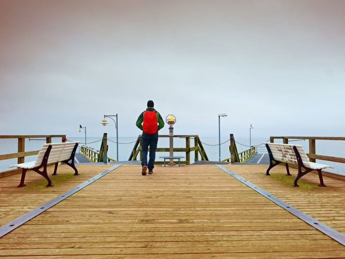 Rear view of man standing on pier against sky