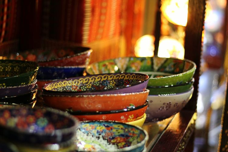 Colors And Patterns Selective Focus Group Of Objects Retail  Souq Waqif Souq Bowls Artisanat Oriental Style Oriental Design Doha Qatar
