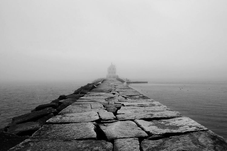Black And White Friday Fog Nature Foggy Weather Tranquil Scene Beauty In Nature Tranquility Day Water Outdoors Scenics Sea The Way Forward No People Landscape Sky