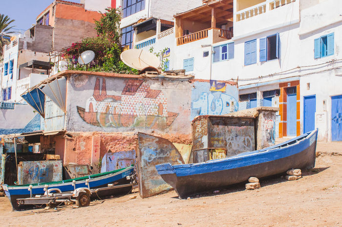 Morocco Taghazout Beach Africa Architecture Building Building Exterior Built Structure City Day House Mode Of Transportation Moored Nature Nautical Vessel No People Outdoors Residential District Rowboat Sunlight Taghazout Taghazout Surfing Transportation Travel Water Window