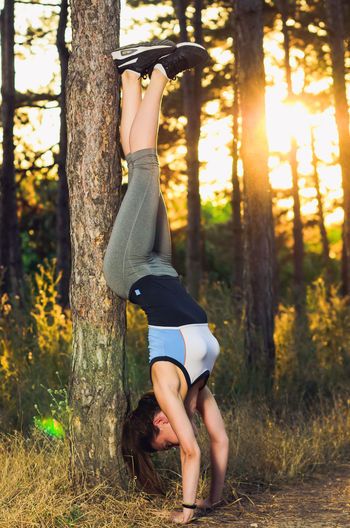 Adult Casual Clothing Day Forest Full Length Handstand  Land Leisure Activity Lifestyles Nature One Person Outdoors Plant Real People Side View Sunlight Tree Tree Trunk Trunk Women WoodLand Young Adult