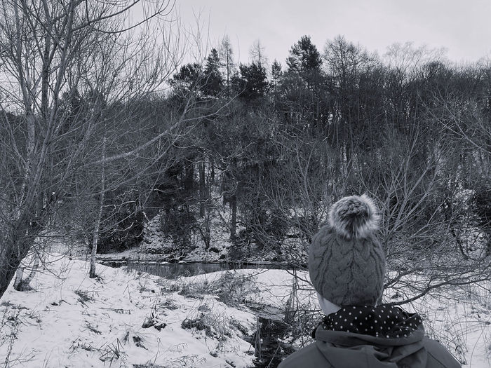Rear view of man looking away on snow covered land