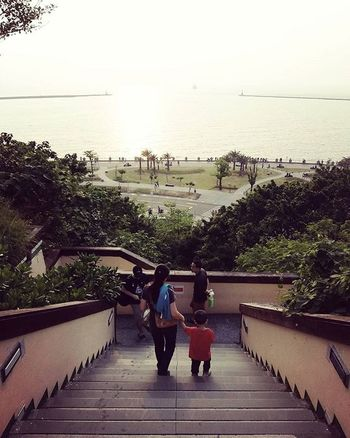 【母子】 Mother and Child 昨天在西子灣,正要下階梯的時候,看到了這母子倆下樓梯,當下我覺得這一幕很美,馬上拿手機拍下來。他們大手拉小手,小孩手中拿著冰淇淋,邊走邊吃,看了就覺得幸福。 另外,從這張照片中 可以發現 在臺灣有一個很有趣的現象 走在最前面的,幾乎都是爸爸~ 😂 因為, 他,可以為了你們,一直走在最前面。 Siziwan Taiwan Kaoshiung Sea Seacoast Sky Sunday Tree Ladder Mother Sun Child Beautiful Sweet Boat Love 愛 階梯 海岸 台灣海峽 母子 媽媽 孩子 幸福 西子灣 台灣 高雄 20150920