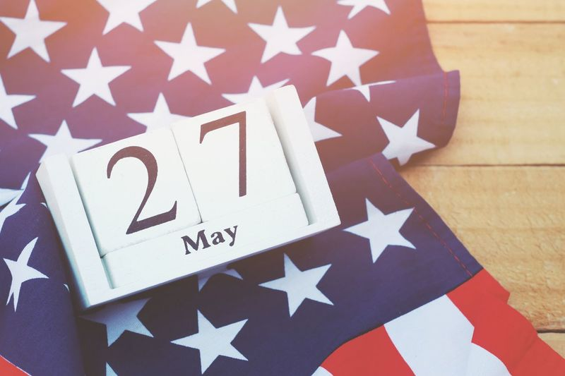 Wooden calendar and american flag Flag Celebration Striped Memorial Patriotism Memorial Day Event USA America Nation Country Pride Peace Peaceful Holiday Memory Soldier Army Celebrate Greeting Cheerful Liberty Banner Emblem