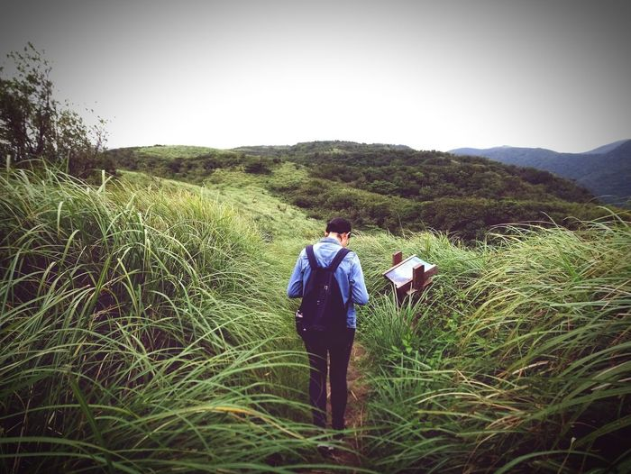 where? Men Full Length Rural Scene Agriculture Field Standing Clear Sky Rear View Hiking Sky