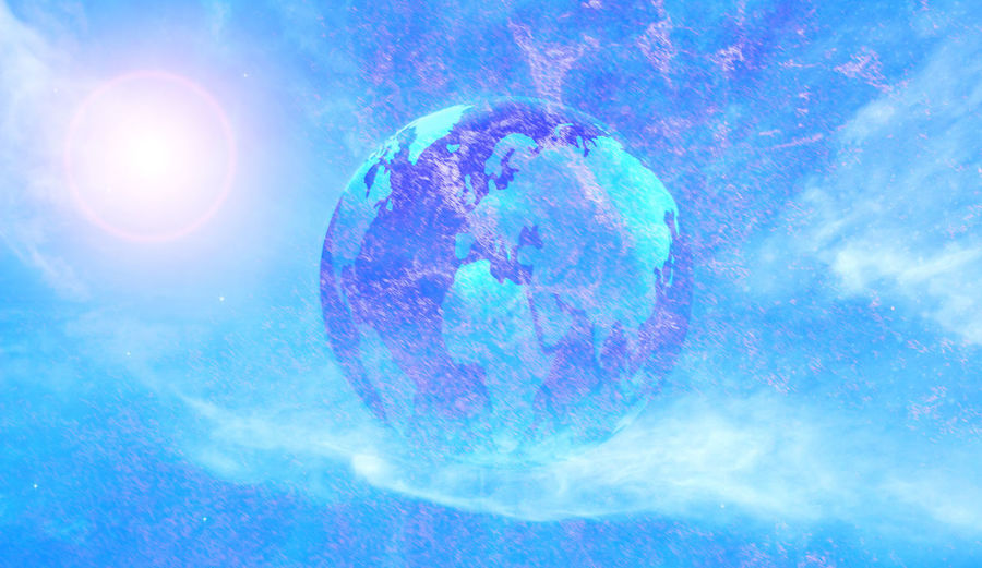 Digital composite image of smoke against blue sky