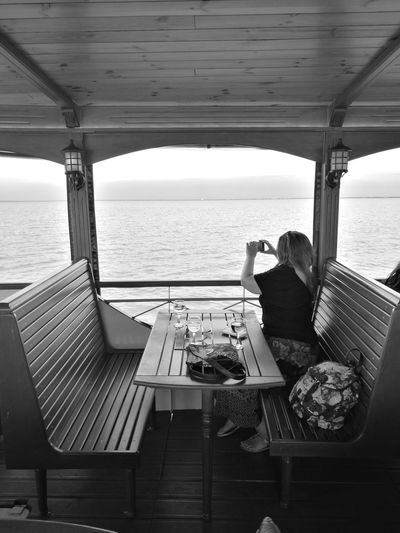 On a boat Sea Water Horizon Over Water Travel Beach Vacations Nature Travel Destinations Nautical Vessel Boat Deck Sky Way Of Transport Ship Lines And Shapes Vacations Blackandwhite One Girl Only One Person Alone Architecture Symmetry Banks