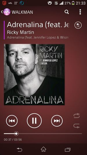 now listening to Adrenalina by Ricky Martin  best played on high volume