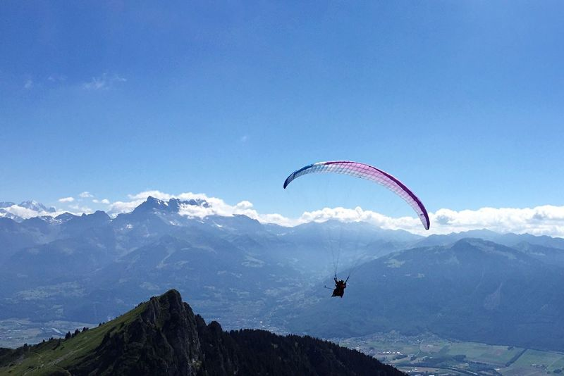 Sun Summer Paragliding Mountain Sport Flying Summertime Relaxing Breathing Space