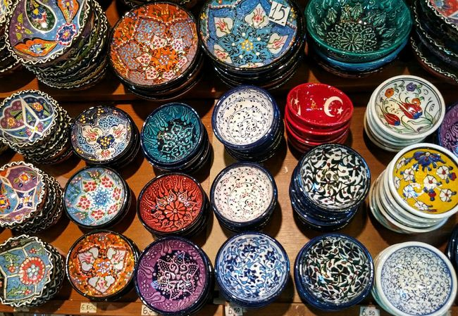 Beautifully Organized Bowls Istanbul Travel Photography Old Travel Ceramic Bowl Colors Pattern Souvenirs Turkish Market