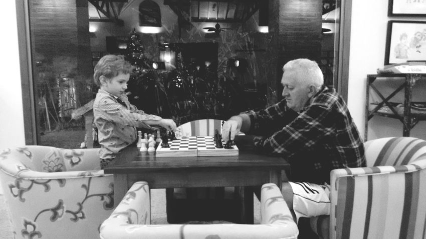 Everyday Lives Playing Chess Grandpa