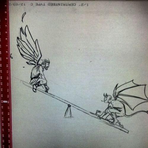 An angel and a demon on a teeter totter. Twodevils Lesserofevils Drywallart Lunchtimeartsandcrafts sharpiemarker