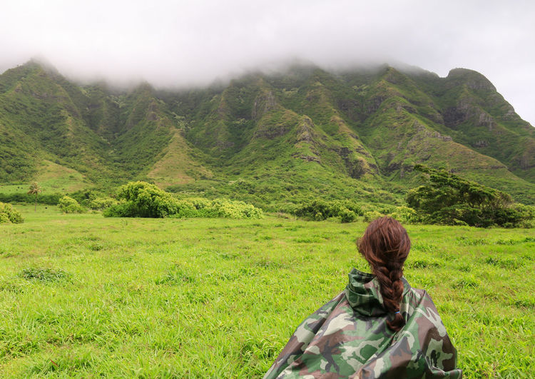 Expedition Hawaii Ranch Adventure Beauty In Nature Exploration Green Color Hairstyle Journey Kualoa Ranch Land Landscape Leisure Activity Mountain Mountain Range Nature One Person Outdoors Rear View Scenics - Nature Tranquil Scene Tranquility Women