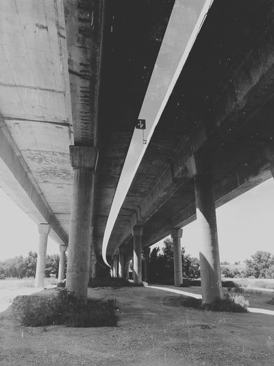 Architecture Built Structure Below Transportation Bridge Connection Architectural Column Bridge - Man Made Structure Underneath No People Day Low Angle View Nature Road Sky Water Outdoors Land Girder Ceiling