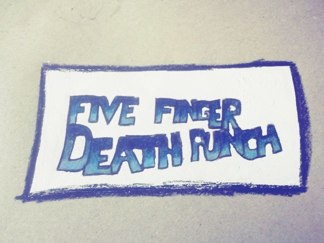 boring time At School, so I drawed something cool on My Desk Today. Five Finger Death Punch