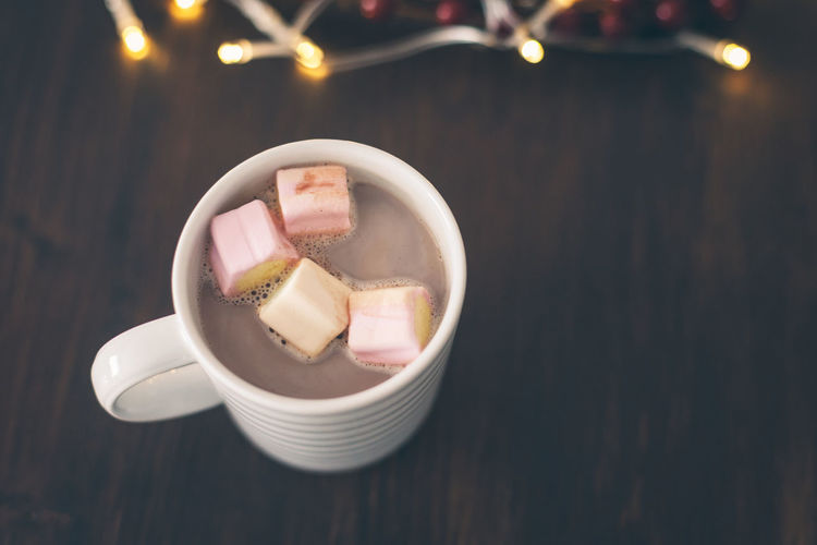 Marshmallows In Hot Chocolate On Table