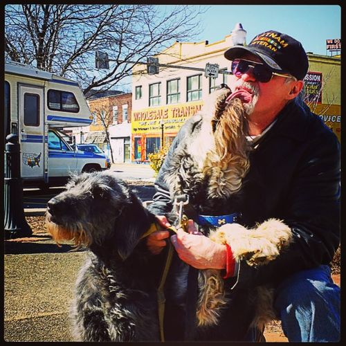 A Vietnam Vet and his dogs in downtown New Kensington. The original photo and story are on my Flickr account.