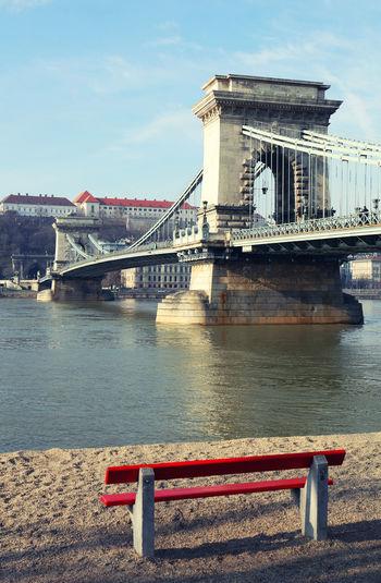 Szechenyi Chain Bridge Over River Against Sky