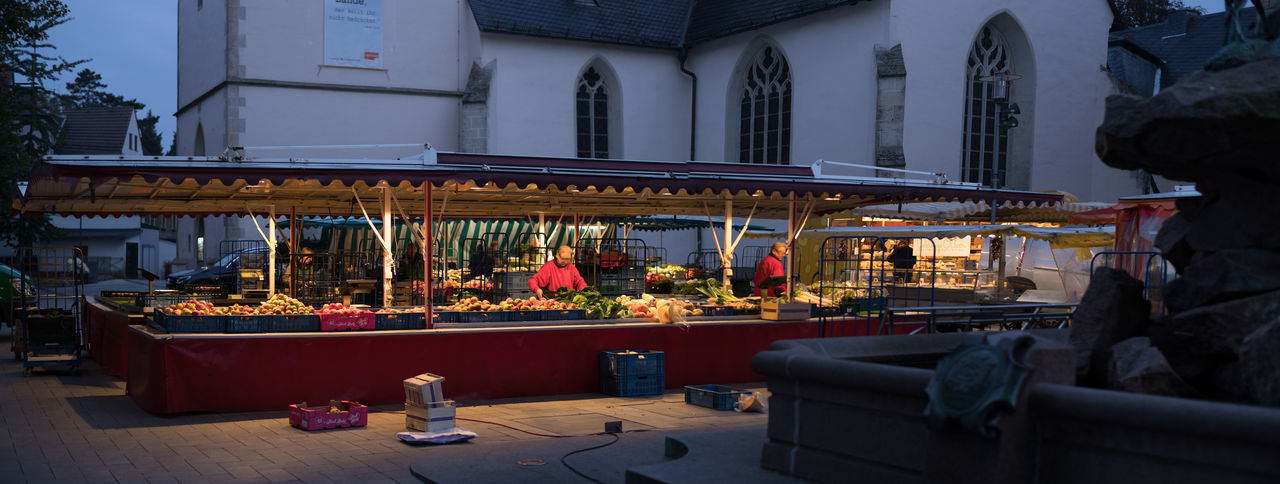 Open Market Project (Film) Boxes Cheese Church Dark Darkness And Light Early Morning Fountain Fruit And Vegetable Illuminated No Twins Open Market Open Market Place Outdoors Panorama