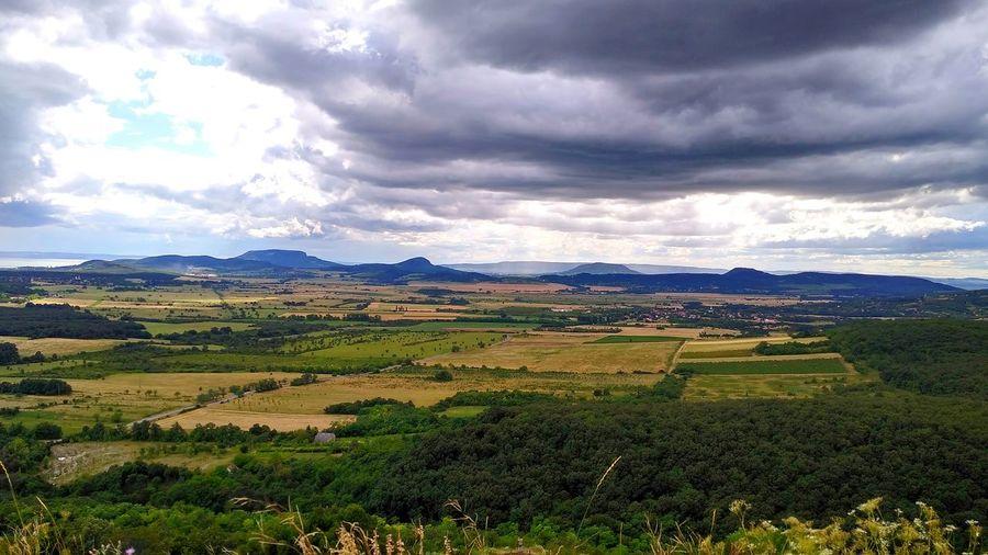 Rain Clouds Balaton Landscape Hungary Hegyestű View Monoszló