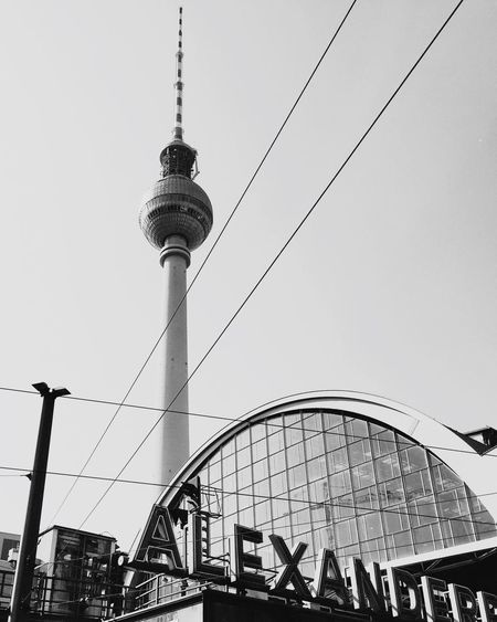 Tower City Sky Travel Architecture No People Berlin Fernsehturm Fernsehturm Berlin  Alexanderplatz Blackandwhite Tourism Travel Destinations Built Structure Television Tower Outdoors Low Angle View Day Building Exterior Clear Sky