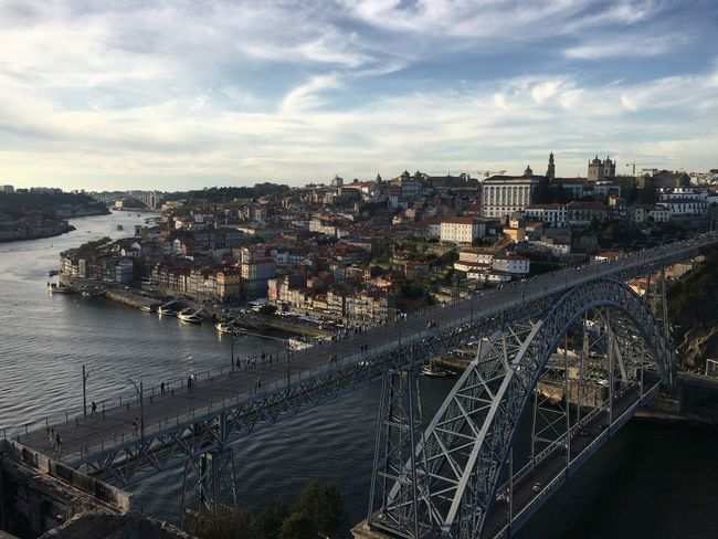 Architecture Built Structure Connection Bridge - Man Made Structure Building Exterior Transportation City Sky River Water High Angle View Cloud - Sky Cityscape Day Outdoors No People Chain Bridge Nature Ponte Luis I Portugal Porto Sight Evening Golden Hour Duoro