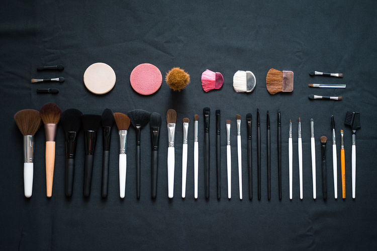 Directly Above Shot Of Beauty Products Arranged On Table