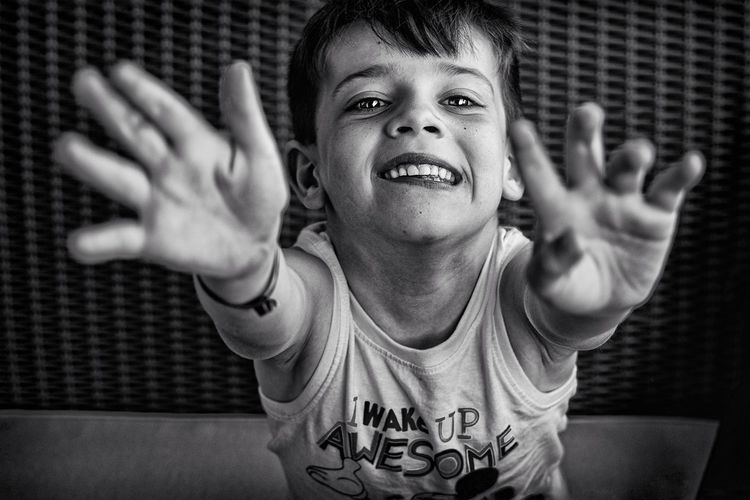 Happy kid and hands