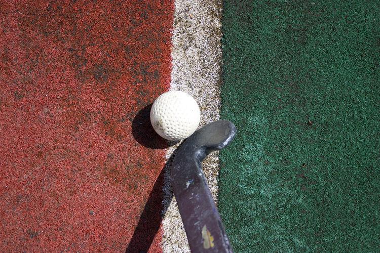High angle view of ball on floor