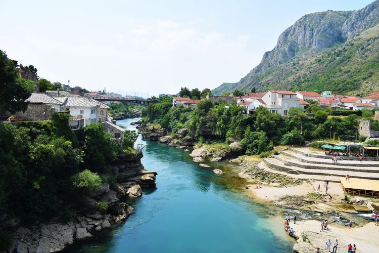 Canal Flowing Water High Angle View River Tourism Tranquil Scene Travel Destinations Water Bosnia And Herzegovina Mostar Mostar Bridge