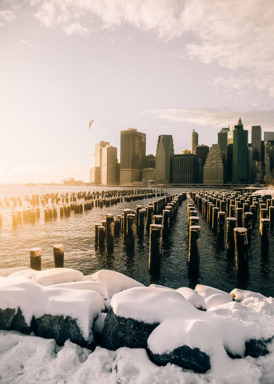 New york waterfront in winter